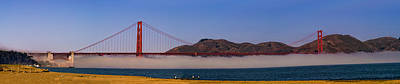 Golden Gate Bridge Over Fog Panorama Print by Chris Bordeleau