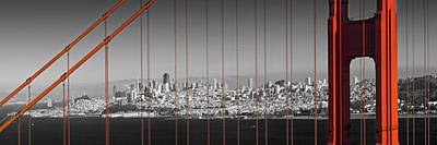 Atmospheric Digital Art - Golden Gate Bridge Panoramic Downtown View by Melanie Viola
