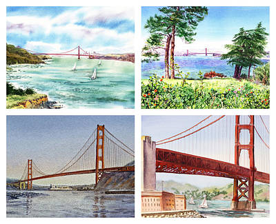 Famous Wave Painting - Golden Gate Bridge San Francisco California by Irina Sztukowski