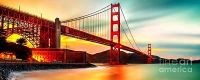 Golden Gate Sunset Print by Az Jackson