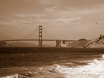 Golden Gate Bridge With Surf Sepia Print by Carol Groenen