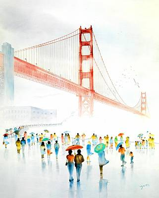 Wonders Of The World Painting - Golden Gate Celebration by John YATO