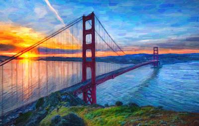 Golden Gate Mixed Media - Golden Gate San Francisco by MotionAge Designs