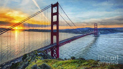 Colorful Contemporary Painting - Golden Gate by Veikko Suikkanen