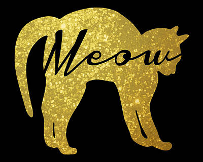Cats Digital Art - Golden Glitter Cat - Meow by Pati Photography