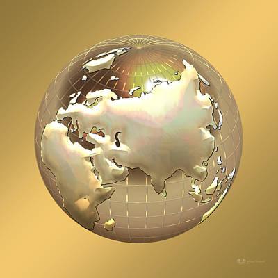 Golden Globe - Eastern Hemisphere On Gold Original by Serge Averbukh