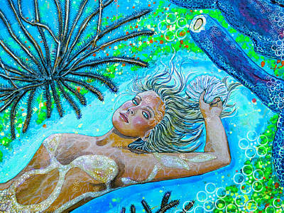 Fantasy Painting - Golden Goddess Close Up by Debbie Chamberlin