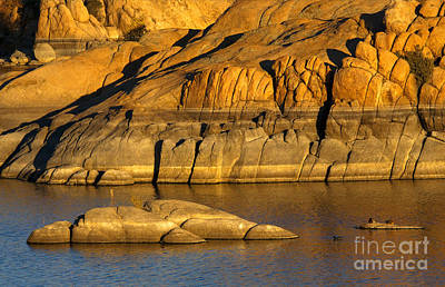 Golden Granite Glow Print by Mike  Dawson