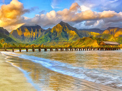 Golden Hanalei Morning Print by Dominic Piperata