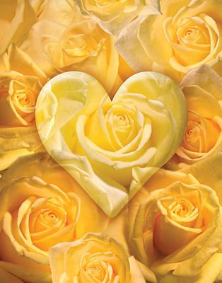 Golden Heart Of Roses Print by Alixandra Mullins