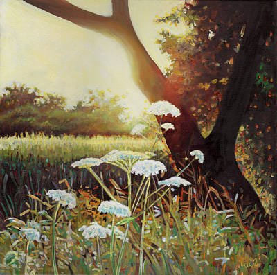 Sunlit Tree Painting - Golden Hedgerow by Helen White