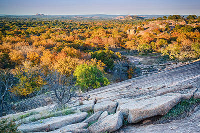 Golden Hour Light Enchanted Rock Texas Hill Country Print by Silvio Ligutti