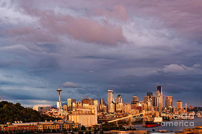 Seattle Photograph - Golden Hour Reflected On Downtown Seattle And Space Needle - Seattle Washignton State by Silvio Ligutti