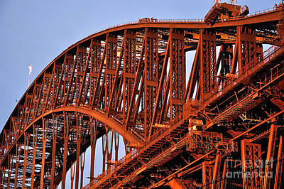 Golden Hour Turns Bridge Red Original by Kaye Menner