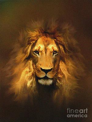 Fine Art Cat Digital Art - Golden King Lion by Robert Foster