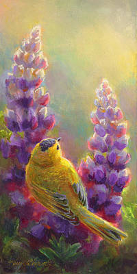 Warbler Painting - Golden Light 1 Wilsons Warbler And Lupine by Karen Whitworth