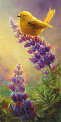 Warbler Painting - Golden Light 2 Wilsons Warbler And Lupine by Karen Whitworth
