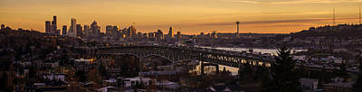 Golden Light On The City Seattle Print by Mike Reid