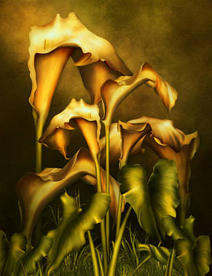 Golden Lilies By Night Print by Georgiana Romanovna