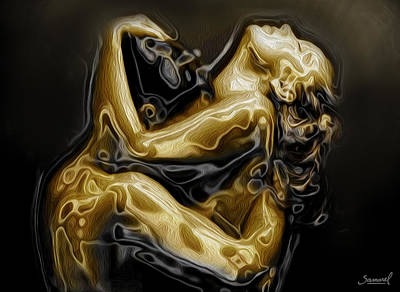 Golden Love Hug Print by Samarel