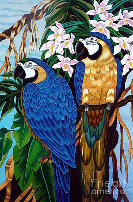 Wildlife Tapestries - Textiles Tapestry - Textile - Golden Macaw Hand Embroidery by To-Tam Gerwe