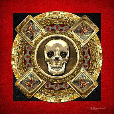 Golden Mictlantecuhtli - Aztec God Of Death Print by Serge Averbukh