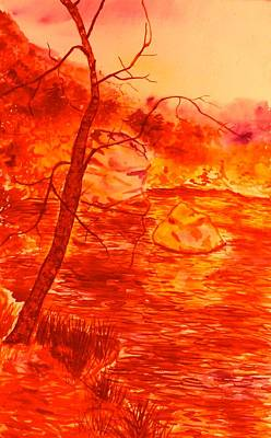 Golden Mountain Lake Morning  Original by Kendall Kessler