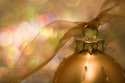 Yule Photograph - Golden Ornament With Ribbon by Carol Leigh