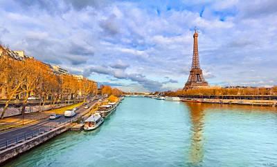 Eiffel Tower Photograph - Golden Paris - Eiffel Tower On The Seine by Mark E Tisdale