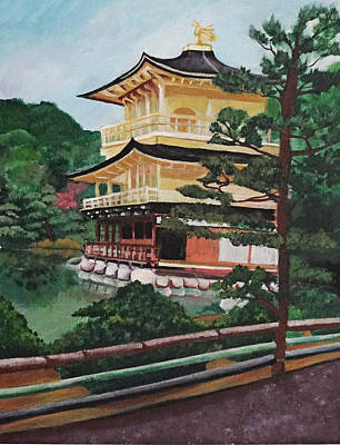 Bamboo House Painting - Golden Pavilion by Michelle Erin Dominado