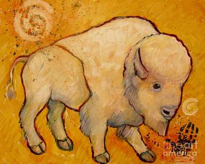 Golden Peace White Buffalo Print by Carol Suzanne Niebuhr