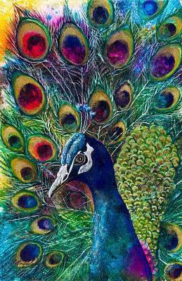 Peacock Mixed Media - Golden Peacock II by Patricia Allingham Carlson