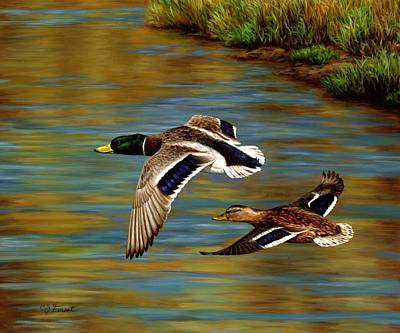 Ducks Painting - Golden Pond by Crista Forest