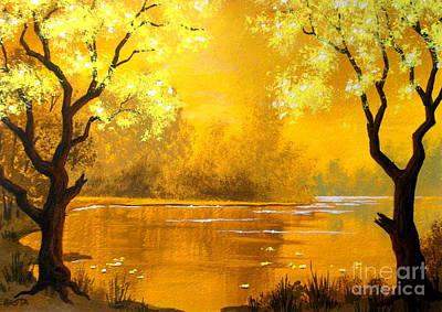 Serenity Scenes Painting - Golden   Pond by Shasta Eone