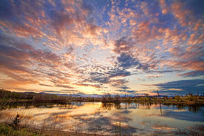 Corporate Art Photograph - Golden Ponds Scenic Sunset Reflections 4 by James BO  Insogna