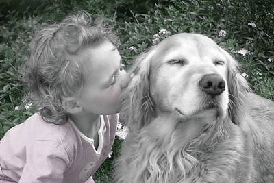 Golden Retriever Photograph - Golden Retriever Dog Kiss From A Little Girl by Jennie Marie Schell
