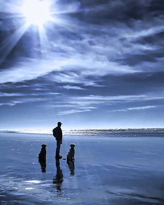 Golden Retriever Photograph - Golden Retriever Dogs End Of The Day by Jennie Marie Schell