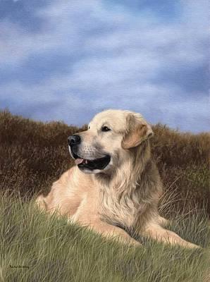 Golden Retriever Painting Original by Rachel Stribbling