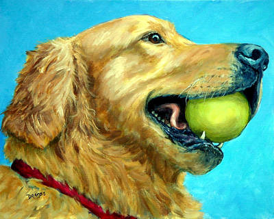 Golden Retriever Profile With Tennis Ball Print by Dottie Dracos