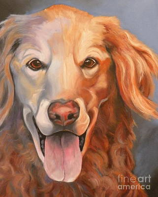 Oil Drawing - Golden Retriever Till There Was You by Susan A Becker