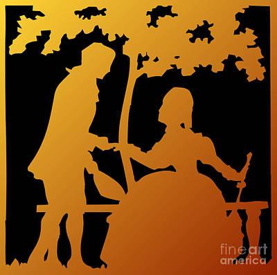 Scherenschnitte Digital Art - Golden Silhouette Garden Proposal Will You Marry Me by Rose Santuci-Sofranko