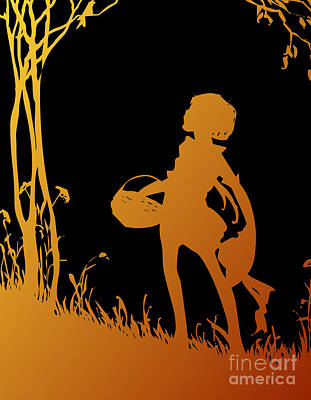 Scherenschnitte Digital Art - Golden Silhouette Of Child With Basket Walking In The Woods by Rose Santuci-Sofranko