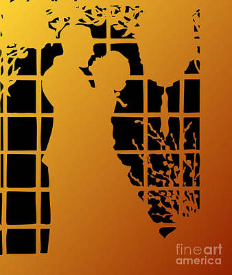 Silhouette Digital Art - Golden Silhouette Of Couple Embracing by Rose Santuci-Sofranko