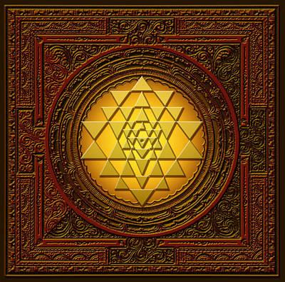 Lakshmi Digital Art - Golden  Sri Lakshmi Yantra by Lila Shravani
