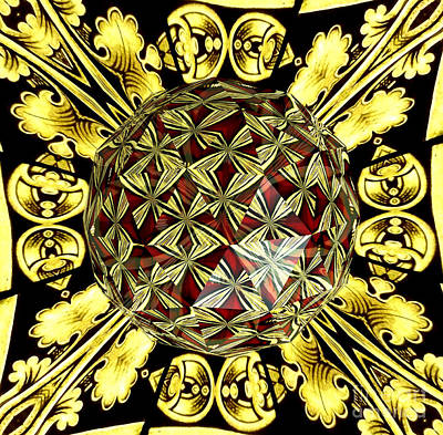 Golden Stained Glass Kaleidoscope Under Glass Print by Rose Santuci-Sofranko