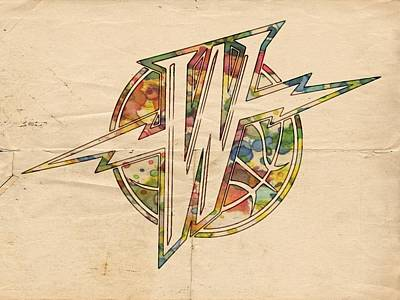 Basketball Painting - Golden State Warriors Retro Logo by Florian Rodarte
