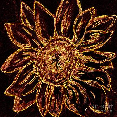 Art And Energetic Photograph - Golden Sunflower - Abstract Art by Carol Groenen