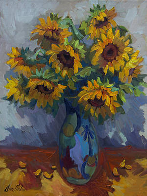 Sunflowers Still Life Painting - Golden Sunflowers by Diane McClary