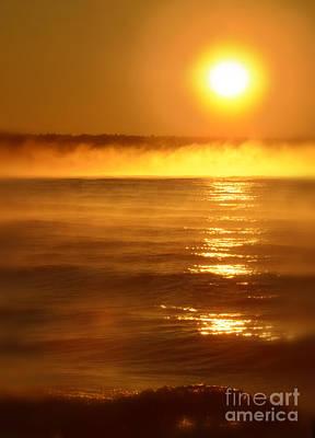 Golden Sunrise Over The Water Print by Jill Battaglia