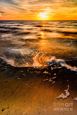 Pebbles Digital Art - Golden Sunset by Adrian Evans